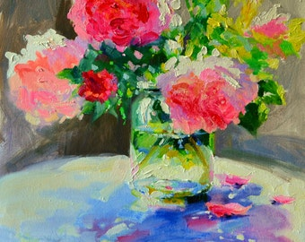 Art Print of 'N PAAR PEONIES, mason jar, pink an purple, Classic still life, oil on canvas, painting, art, gift for mom, Christmas gift