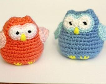 READY TO SHIP- Crochet Owls, Amigurumi rattle, stuffed animal toy, baby gift