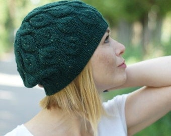 wool women hat beret hand knitted