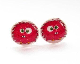 Little Red Monster Resin Earrings, Cute Studs, Hypoallergenic Surgical Steel, Resin Jewelry, Kawaii Jewellery, Kids Earrings