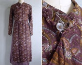 Vintage 80's Indian Paisley Print Brown Nehru Collar Dress L or XL