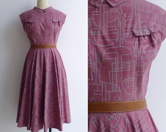 15% SALE (Code In Shop) - Vintage 50's Midcentury Modern Abstract Print Collared Dress XS or S