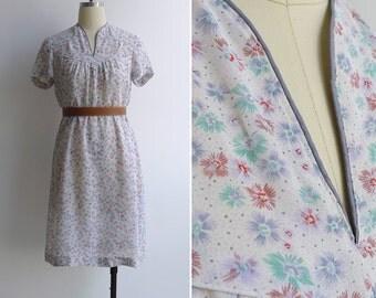 15% SALE (Code In Shop) - Vintage 80's Fireworks & Florals Sheer Printed V-Neck Day Dress S or M