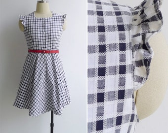 Vintage 80's Preppy Plaid Checkered Ruffle Sleeve Dress XS