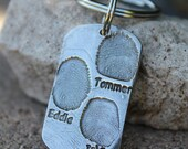 Fingerprint Keychain Dog Tag Style Fingerprint keychain for dad gift for dad gift for granddad grandfather gift for grandpa in white copper