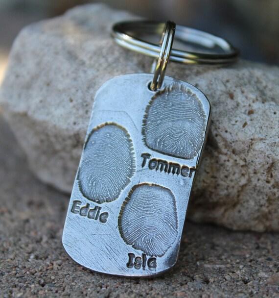 Fingerprint Keychain, Father's Day Gift, Kids Fingerprint Key chain, Gift for Dad Keychain, Gift for Grandfather, Children Fingerprints