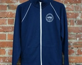 Unisex Piped Fleece Navy Track Jacket with Cleveland 'City Seal' in White Ink