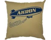 Akron Ohio Blimp Khaki Twill Throw Pillow - 13'' x 13''