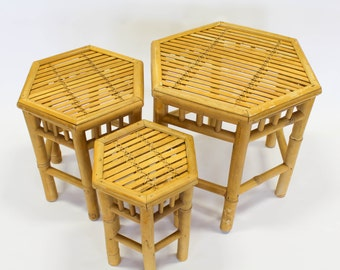 Bamboo Nesting Tables, Hexagon Plant Stands, Set of 3, Boho Decor