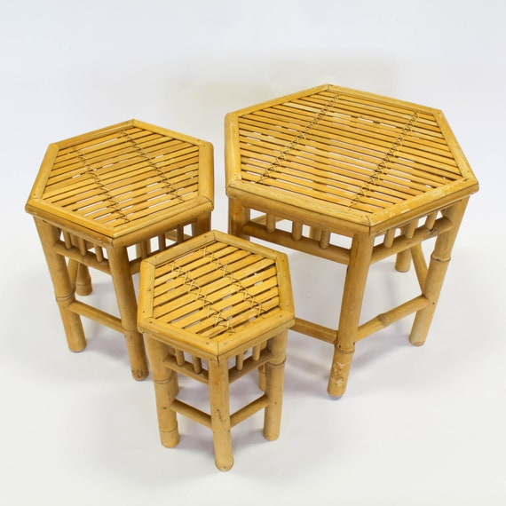 Bamboo Plant On Table: Bamboo Nesting Tables Hexagon Plant Stands Set Of 3 Boho