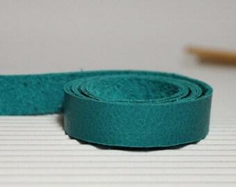 15mm Wide Teal Genuine Leather Strap, 1 Yard