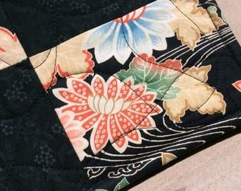 Quilted Rectangle Trivet/Hot Pad Modern Floral Motif Blue Orange Green Flowers Kitchen Decor Hostess Gift Teacher Gift PollyannaGift