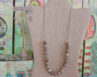 Moonstone and Antique Silver Necklace & Earrings