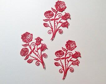 "3 Roses, Flowers, Red, Cards, Scrapbooking, Cardstock, 4"", Handmade"