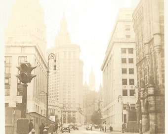 Vintage Snapshot - New York City Street Scene - Empire State Building - Found Vernacular Photo - Architecture - Old Cars