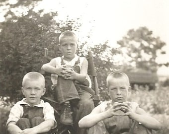 "Vintage Photo ""Future Farmers"" Boys in Overalls - Bare Foot Boy - Blond Hair - Found Original Photo"