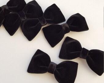 Black velvet hair bow--christmas bows for babies toddler big girl bows- toddler baby  shower gift idea