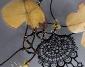 Yellow butterflys necklace. Boho necklace. Beaded necklace. Black lace necklace. Unique wedding necklace. Fiber art jewelry.