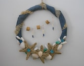 Nautical Wreath with Jute Stars, Shells, Glass