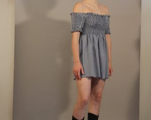 1990s raw hem, smocking detailed navy blue gingham dress, off the shoulder