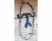 Sage green & mauve purple beaded necklace