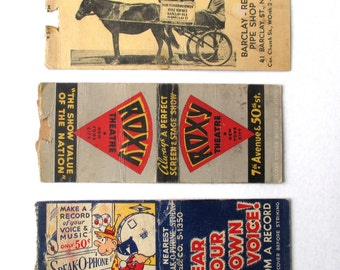 3 Antique Matchbooks, 1930s, 40s, Roxy Theatre, Smoke Shop, Speak o Phone, Tobacco Ad, Pipe Shop