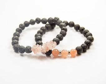 Depression - Abundance - Sunstone & Lava bead - Essential Oil diffuser bracelet