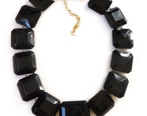 Vintage YSL Yves Saint Laurent Black Lucite Square Panel Statement necklace