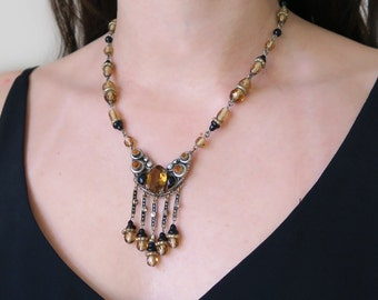 Vintage Czech Art Deco Yellow & Black Butterfly Glass Bead Necklace