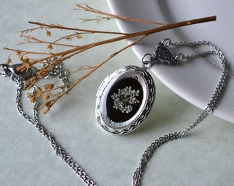 Keepsake Silver Locket Real Pressed Queen Annes Lace Flower Eco Resin Pendant
