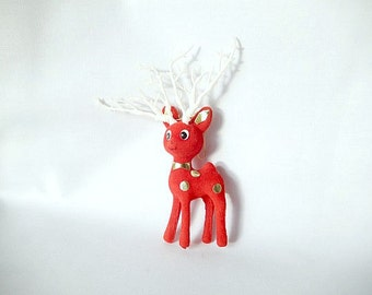 reindeer ornament, vintage flocked deer/reindeer Christmas tree ornament, 1970s, vintage Christmas
