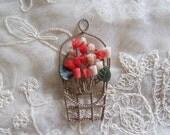 Coral Pin Genuine Carved Angel Skin And Jade Tulip Basket Brooch For Repair Or Pendant Vintage Costume Jewelry Destash MoonlightMartini