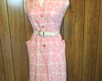 On Sale-Adorable PINK PLAID Cotton DAY Dress