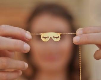Sleeping Mask Necklace , Gold Eye Sleep Mask , Eyelashes Mask Jewelry