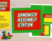 INSTANT Sandwich Assembly Station - LEGO Inspired Teacher Appreciation and Birthday Printables