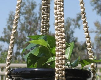 CLASSIC Handmade Macrame Plant Hanger Plant Holder with Wood Beads - 6mm Braided Poly Cord in PEARL