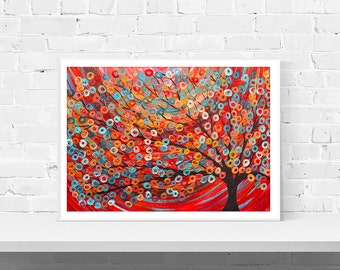 Giclee Art Print - Red Abstract Tree Painting - Giclee Print By Louise Mead