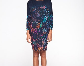 Kimono dress with amazing fall colours pattern inspired by Morocco .