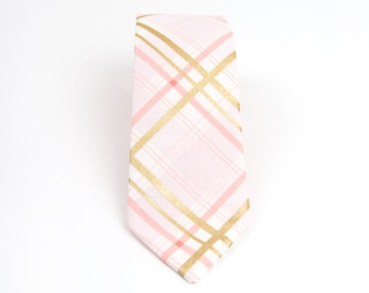 Mens Necktie, pink plaid tie, pink and gold tie, pink groom's tie, pink plaid necktie, men's pink tie, pink & gold plaid necktie, Men's tie