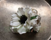 Cream Flower Hairclip- White, Cream, and Black Bridal or Bellydance Flower Cluster