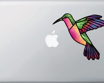 """CLR:MB - Hummingbird Stained Glass Style Vinyl Decal for Laptop 