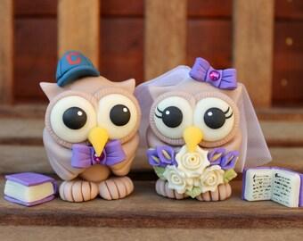 Wedding custom cake topper, book cake topper, book themed wedding, owl love bird cake topper, teacher bride groom