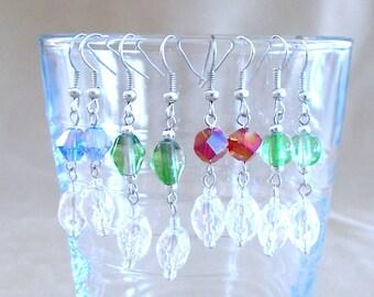 Color & Clear Glass Beaded Dangle Earrings, Handmade, Original Design, Bright Colors, Ladies Gift, Bold, Glamour, Simple, Elegant, Wedding