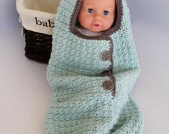 Hooded Baby Crochet Cocoon - Baby Swaddle Sack - Cocoon - Seafoam