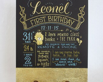 "Glitter gold Favorite Things Poster™, 15""x20"" art board, custom birthday drawing by hand"