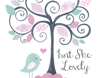 BABY GIRL NURSERY decor Pink Turquoise Gray, kids wall art, tree of love, girls room, birds, Isn't She Lovely, baby art prints, personalized