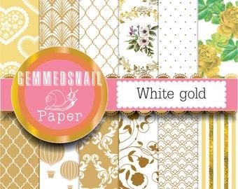 Gold digital paper, gold scrapbook paper white gold background 12 digital scrapbook papers