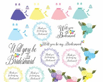 Wedding clip art, 29 wedding clipart images for 'will you be my bridesmaid' invitations, cards, gifts etc