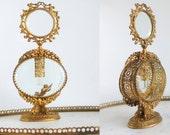 Art Nouveau Gold Ormolu Perfume Bottle Crystal Glass Ornate Gold Gilt Filigree Glass Dauber Stopper