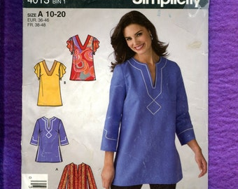 Simplicity 4013 Boho Chic Caftan Style Tunics Size 10 to 20 UNCUT